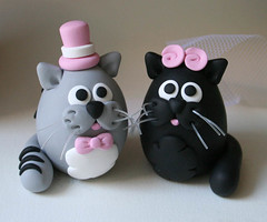 Kitty Wedding Cake Topper (fliepsiebieps1) Tags: pink cats black cute cat grey handmade tabby gray kitty polymerclay fimo custom whimsical weddingcaketopper