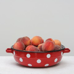 Peaches in Polka Dotted Red Bowl, Square (Gordana AM) Tags: pink summer food orange ontario canada tangerine fruit booth outside juicy healthy natural market many memories harvest peach tasty august bowl fresh offer tango crop windsor peaches produce local pickyourown sell inviting share freelance peachy enamel tantan localfood flavourful breskva breskve lepiafgeo