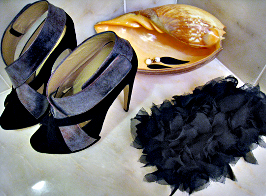 nicholas kirkwood shoes+DIY petal clutch+Jami Rodriguez earrings