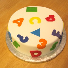 shapes, letters and numbers in rainbow colors