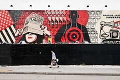 Are we betraying the planet ? (Woods | Damien) Tags: nyc red usa streetart newyork black art contrast painting rouge graffiti noir unitedstates manhattan pedestrian rue mur passant 美国 纽约 peintue streettogs
