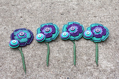 Felt Button Boutonnieres (rbkcreations) Tags: flowers white purple embroidery buttons teal unique wand felt legos ribbon bouquet rhinestone whimsical offbeat buttonbouquet reallybadkitty alternativebouquet rbkceations