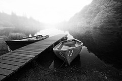 12 (Stuart Stevenson) Tags: blackandwhite bw mist reflection scotland pier boat still scottish peaceful wideangle calm loch milton trossachs latesummer photochallenge lochard creativetribe canon5dmkii ©stuartstevenson