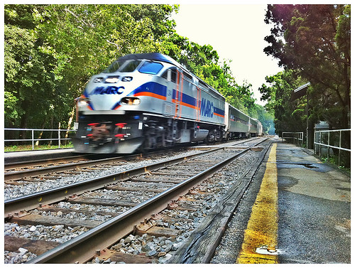 MARC train at Garrett Park Station - Taken With An iPhone