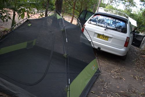 Station wagon & tent -- our home for 16 days