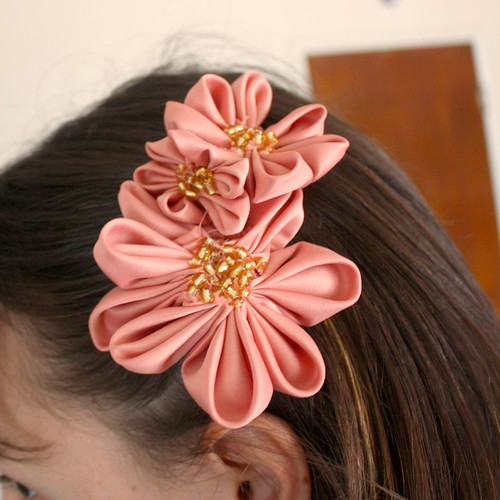 Pointed Kanzashi Flower Hair Accessory