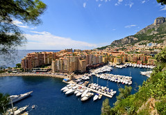 Fontvieille (klausthebest) Tags: blue light sea sky cloud seascape colour building architecture port boat cityscape harbour monaco fontvieille principautdemonaco