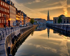 Sunrise on Nybrogade (Js) Tags: city morning reflection water sunrise copenhagen denmark canal europe scandinavia hdr kbenhavn nikond90
