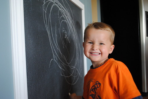 Chalkboard wall in action