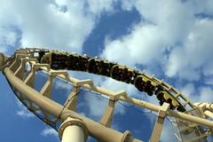 Roller Coaster in the sky (Read2me) Tags: blue sky cloud white amusement upsidedown frombelow gamewinner challengeyouwinner challengegamewinner friendlychallenges thumbsupwinner thechallengefactory yourock1stplace herowinner superherochallengewinner storybookwinner storybookchallengegroupotr pregamewinner