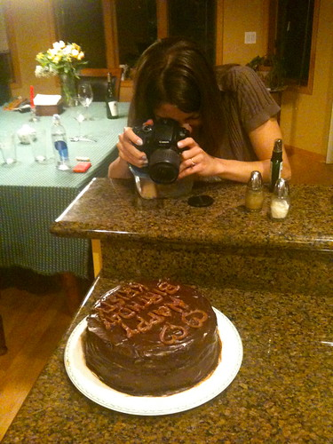 Kristy Enjoys the Birthday Cake I Baked