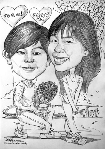 Couple caricatures in pencil - proposal @ Esplanade