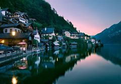 Calmness (NatashaP) Tags: longexposure houses summer vacation lake mountains reflection night lights austria village hill calm clear explore frontpage dri interestingness2 hallstatt nothdr