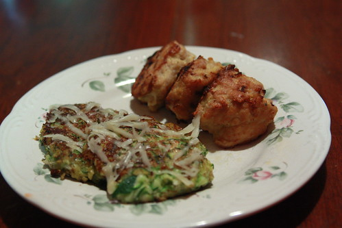Garlic Chicken Meatballs with Zucchini fritters