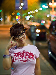 Night Shoot in Phoenix (awallphoto) Tags: street city pink arizona portrait cars girl smile night hair happy 50mm prime glasses women nightlights dof bokeh az olympus depthoffield nightshoot micro 12 om zuiko 43 f12 zd mft fourthirds awall 1000iso aaronwallace epl1 microfourthirds awallphoto awallphotocom