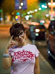 Night Shoot in Phoenix (awallphoto) Tags: street city pink arizona portrait cars girl smile night hair happy 50mm prime glasses women nightlights dof bokeh az olympus depthoffield nightshoot micro 12 om zuiko 43 f12 zd mft fourthirds awall 1000iso aaronwallace epl1 microfourthirds awallphoto awallphotocom