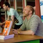 Lars Husum signing books