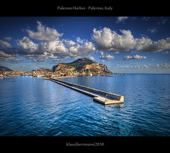 Palermo Harbor - Palermo, Italy (HDR) (farbspiel) Tags: ocean travel blue sea vacation italy holiday seascape colour tourism water colors sunshine clouds photoshop landscape geotagged photography see harbor nikon colorful meer wasser colours cloudy harbour cyan wolken wideangle bluesky journey cruiseship ita handheld colourful nikkor omar palermo dri blauerhimmel hdr highdynamicrange sicilia farben sonnenschein wolkig niceweather postprocessing ozean dynamicrangeincrease 18200mm d90 schneswetter photomatix tonemapped tonemapping farbenpracht detailenhancer topazadjust topazdenoise klausherrmann topazsoftware geo:lat=3811977012 topazphotoshopbundle nikonafsdxnikkor18200mm13556gedvr geo:lon=1338048935