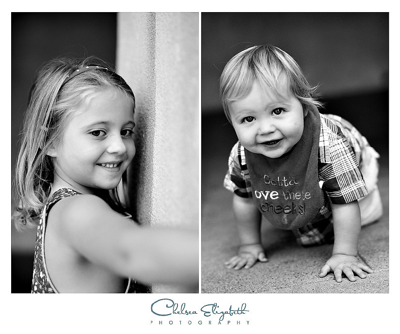 black and white childrens portrait