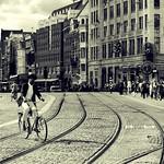 Cyclist over railway
