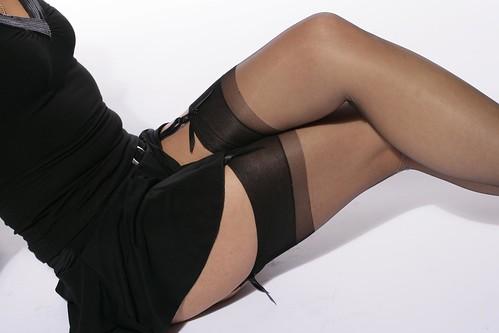 Miss in black nylon 03