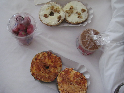 sundried tomato bagel, walnut honey bagel, stroopwafels and radishes