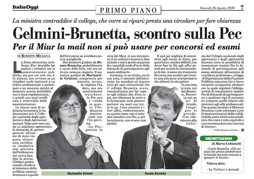 Gelmini-Brunetta, scontro sulla PEC