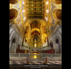 Cathedral of Monreale - Monreale, Italy (HDR Vertorama) (farbspiel) Tags: travel red vacation italy panorama holiday colour history tourism church colors yellow photoshop geotagged religious temple photography golden ancient nikon worship colorful colours christ mosaic interior religion belief wideangle historic holy journey ita handheld bible stitching sicily photomerge mystical colourful spiritual stitched dri hdr highdynamicrange byzantine sicilia farben tempel heilig monreale superwideangle 10mm postprocessing glaube dynamicrangeincrease ultrawideangle d90 photomatix religis tonemapped tonemapping farbenpracht detailenhancer vertorama topazadjust topazdenoise klausherrmann topazsoftware sigma1020mmf35exdchsm cathedralofmonreale topazphotoshopbundle geo:lat=3808198370 geo:lon=1329208480