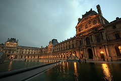 Louvre evening (` Toshio ') Tags: storm paris france reflection building history water rain museum architecture night french europe european louvre stormy bluehour europeanunion museedulouvre toshio louvremuseum