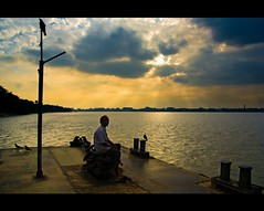 Waiting For The Last Ferry (Satyaki Basu) Tags: people india canon eos 1750 tamron kolkata calcutta ghat hoogly explored 450d bagbazar gettyimagesmiddleeast