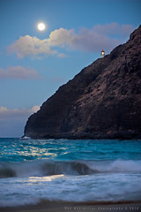 Makapu'u Super Harvest Moonrise (Rex Maximilian) Tags: ocean sea cliff lighthouse beach hawaii sand waves pacific oahu moonrise shore harvestmoon makapuu kaiwi superharvestmoon
