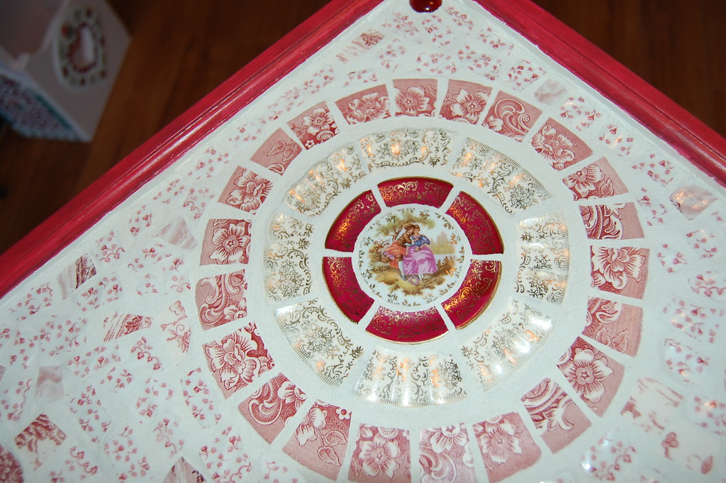 Top Red Toile French Country Mosaic Table