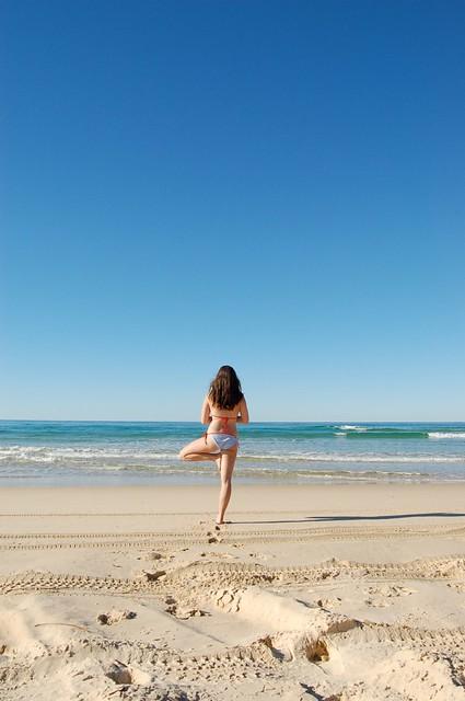 yoga on Fraser Island