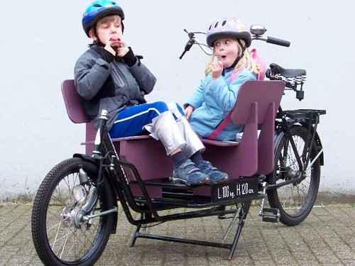 two kids in a long john bike