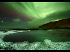 Frosty Aurora - Vk, Iceland (orvaratli) Tags: winter sky cold ice rock night stars landscape frost astro arctic aurora northernlights pinnacles borealis vk