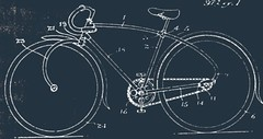 CCM Flyte patent drawing 1935 -- ccm flyte curved bike antique flyer forks vintage bicycle drawing patent