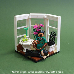 Mister Green, in the Conservatory, with a rope (crises_crs) Tags: plant flower green window table dead chair lego victim observatory vignette sunroom clue cluedo lugpol murderousminifigs