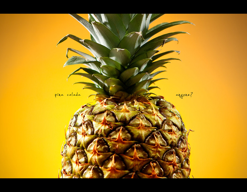 Day 193, 193/365, Project 365, Strobist, pineapple , pina colada, yellow, fruit, white rum, cream of coconut, Piña colada,