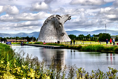 The Kelpies (Geoff Henson) Tags: falkirk scotland stirlingshire horses kelpies art statues helix park nikon sigma canal river boat reflection sculptures m9