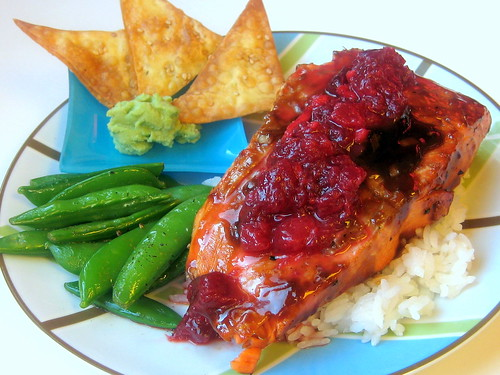 ... -Glazed Salmon with Plum-Ginger Relish (Plus, Sesame Wonton Chips