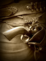 Revolver (Weeping-Willow Photography) Tags: sepia pioneers revolver pioneer holster flickrchallengegroup