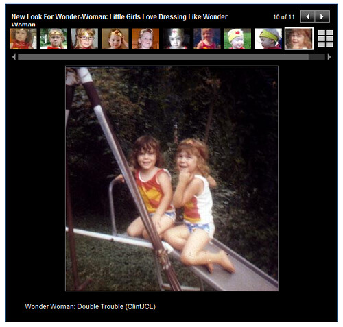 Screenshot - Carolyn and Vicky as Wonderwoman on ABCNews.com