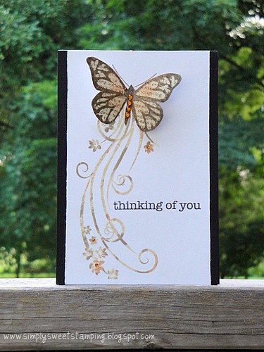 Swirl with flowers butterfly card