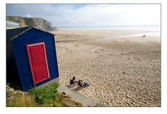 Watergate Bay - Lifeguard Hut (Mark-Crossfield) Tags: pictures uk greatbritain blue red sea england beach coast photo sand watergatebay cornwall waves view image photos sandy picture wave images safety hut beaches watergate sandybeach rnli bigwave lifeguardhut photosof picturesof nearnewquay ifeguard imagesof watergatebayhotel markcrossfield