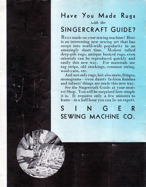 Singercraft guide advertisement from the back of the Singercraft fagoter manual