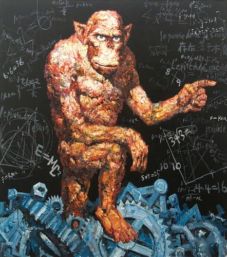 華慶-廢墟中的行者-180x160cm-油畫-2010