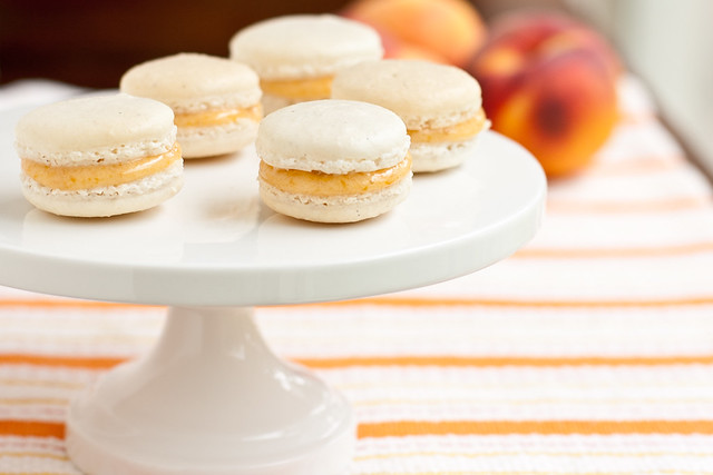 Vanilla Bean Macarons with Peach Preserves