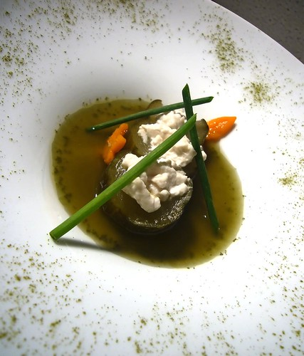 Braised cucumber served with White Jade tofu, served with matcha flavored braising liquid and chives