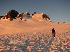 On the Snow Dome at sunrise - Summit is right center