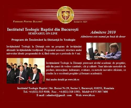 Admitere la Institutul Teologic Baptist din Bucureşti - Invățământ la Distanță